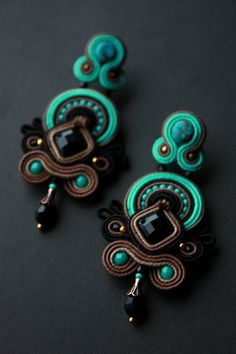Handmade soutache earrings by Mildossutazas on Etsy
