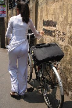 Satin Trousers, Dress Trousers, Girls In Leggings, Girls Jeans, Ao Dai, Sexy Gown, Vietnamese Traditional Dress, Vietnam Girl, Bicycle Girl
