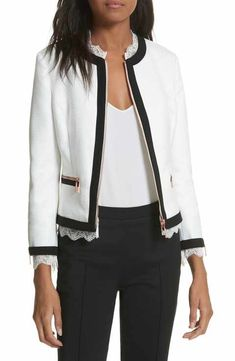 Ted Baker London Lace Trim Crop Jacket Scalloped Lace, Bellisima, Clothing Items, Ted Baker, Lace Trim, Nice Dresses, Going Out, Bomber Jacket, Dressing