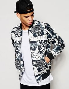Image 1 of ASOS Bomber Jacket With Skull Print