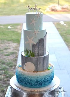 Beach Themed Cake by Elisabeth Palatiello Beach Themed Cakes, Beach Cakes, Amazing Wedding Cakes, Amazing Cakes, Wedding Unique, Wedding Ideas, Cake Pops, Ocean Cakes, Nautical Cake