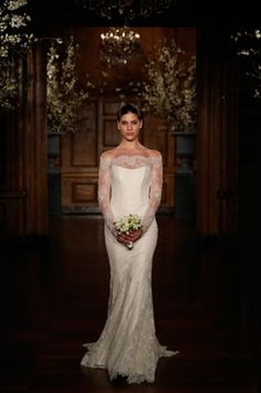 Dresses, Gatsby Wedding Dress Beaded Lace Fluted Illusion Off Shoulder Long Sleeve Gown: Collection of Spring 2014 Wedding Dresses by Romona Keveza Romona Keveza Wedding Dresses, Wedding Dresses 2014, Wedding Gowns, Bridesmaid Dresses, Gatsby Wedding Dress, Mod Wedding, Lace Wedding, Wedding Blog, Wedding Planner