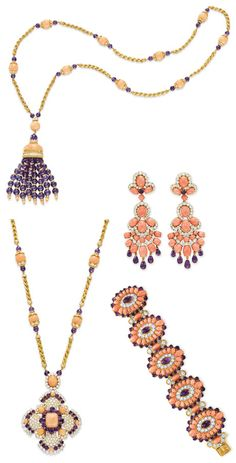 Five pieces in a Coral, Amethyst, Diamond & Yellow Gold seven-piece collection Ms. Taylor was given by Richard Burton in 1971.
