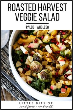 This Roasted Harvest Veggie Salad is a great way to eat a variety of vegetables all in one paleo and side dish! This Roasted Harvest Veggie Salad is a great way to eat a variety of vegetables all in one paleo and side dish! Paleo Recipes Easy, Whole 30 Recipes, Clean Eating Recipes, Side Dish Recipes, Whole Food Recipes, Healthy Eating, Cooking Recipes, Side Dishes, Paleo Meals