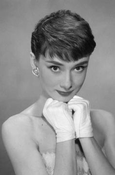 Audrey Hepburn with short hair