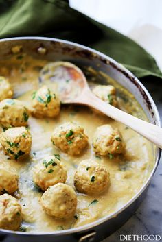 This Lightened-Up Turkey Swedish Meatballs Recipe is perfect for an easy weeknight dinner or party appetizer! Homemade turkey meatballs smothered in a light, yet very delicious gravy sauce. Turkey Meatball Sauce, Turkey Curry, Swedish Meatball Recipes, Bbq, Albondigas, Ground Turkey Recipes, Easy Appetizer Recipes, Cooking Recipes, Recipes