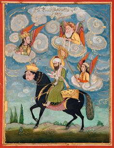 """""""Portrait of the Prophet Muhammad Riding the Buraq Steed,"""" by Unknown(18th century)"""