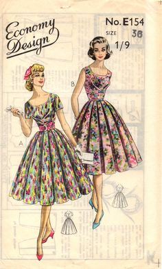 Great example of a central box pleat/dart to the bodice of this dress Vintage Midi Dresses, Vintage Dress Patterns, Dress Sewing Patterns, Vintage Outfits, Fifties Fashion, Retro Fashion, Vintage Fashion, Box Pleated Dress, Patron Vintage