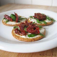 Sun-dried Tomato & Basil Cracker Appetizer...easy late night snack