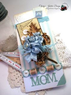 shabby chic card-MOTHER'S DAY sewing bouquet-MOM greeting