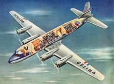 Flying the Main Line: A History of United Airlines - United Air Lines Douglas DC-6 Mainliner brochure, detail c. 1947