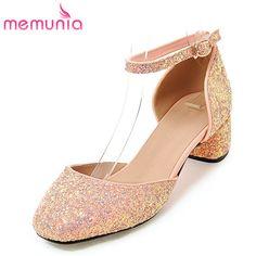 2c839ec7d974 MEMUNIA 2017 new arrive women pumps fashion glitter square toe med heels  buckle single shoes sweet