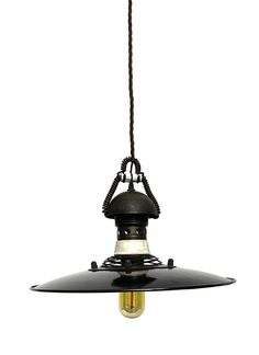Set of Six Hanging, Enameled Metal Swinging Lamps | From a unique collection of antique and modern chandeliers and pendants  at https://www.1stdibs.com/furniture/lighting/chandeliers-pendant-lights/