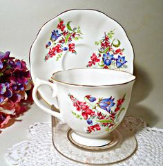 Tea Cup and Saucer  Royal Albert Teacup Saucer Floral Bluebell by treasurecoveally on Etsy