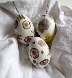 Ostereier -   Ostereier mit echten Blüten / Gänseeier  - ein Designerstück von Perla-Polarstation bei DaWanda