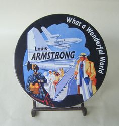 Louis Armstrong What a Wonderful World CD Vintage Used Music Jazz Soul Superstar Collectible Round Tin Case