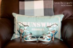 something blue, brunswick georgia, pillow, wedding heels, satin, fashion, wedding photography :: Hannah + Will's Intimate Wedding at Old City Hall in Brunswick, GA :: with Shain