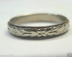 ANTIQUE ART DECO WEDDING BAND  {International Buyers Are Responsible For Customs & Duty Fees}  CIRCA ~ 1930'S  METAL ~ 14KT WHITE SOLID GOLD   WEIGHT ~ 3.5 GRAMS  FINGER SIZE ~ 9 U.S.A & CANADA   (R 1/2) UNITED KINGDOM, IRELAND, AUSTRALIA & NEW ZEALAND  (18) JAPAN, CHINA & INDIA  INSIDE DIAMETER ~ 0.746 INCHES - 18.95 MM  INSIDE CIRCUMFERENCE ~ 2.34 INCHES - 59.5 MM  WIDTH ~ 3.76 MM (0.148 INCHES)