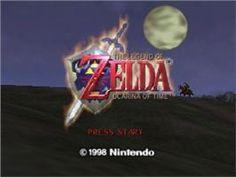 Title screen of Legend of Zelda: Ocarina of Time on the Nintendo N64.