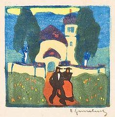 Wimpelkette - Farbholzschnitt - Herbert Gurschner (1901 - 1975)