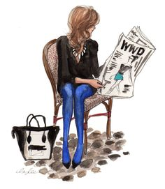We know it's just a drawing, but it has us thinking of buying some cobalt tights stat!