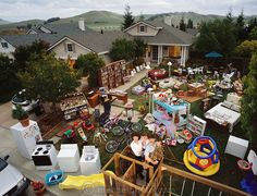 The Cavin Family with all of their material possessions, except for more boxes of books stored in the garage, American Canyon, California. C...