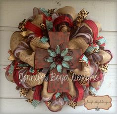 Western Rustic Red, Turquoise, Leopard print and Burlap Cross Deco Mesh Wreath. $95.00, via Etsy.