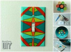 Geometric Painting | 19 Adorable Ways To Decorate A Light Switch Cover