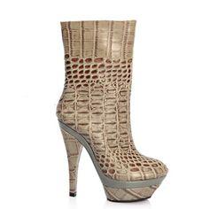 欧美大牌YS*L 中筒靴 高跟 真皮 中筒靴子 女靴 靴子 防水台中靴-淘宝网