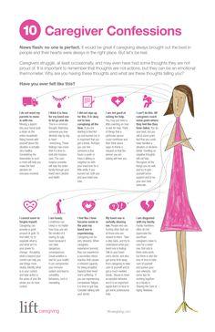 10 Caregiver Confessions Infographic #caregiver #caregiving