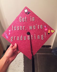 How to wear how to wear graduation cap 15 best outfits Graduation cap, mean girl, pink, college, vcu Quotes For Graduation Caps, Funny Graduation Caps, Graduation Cap Designs, Graduation Cap Decoration, Graduation Diy, Grad Cap, High School Graduation, Graduation Attire, Graduation Portraits