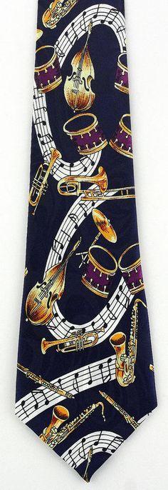 New Music Band Mens Necktie Musical Instruments Drum Sax Trumpet Blue Neck Tie #StevenHarris #NeckTie