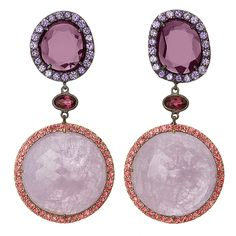 Shawn Warren Sapphire and Spinel Earrings. 51.64 carats Round Lavender Sapphire Slices with Purple Spinel surrounded by Purple and Pink Sapphires set in Pink Gold