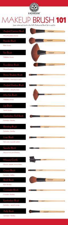 Makeup Brush 101 - Lionesse Beauty Bar 18pc. set