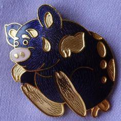 Vintage Cloisonné Enamel Whimsical PIGGY Brooch by FISH (?)