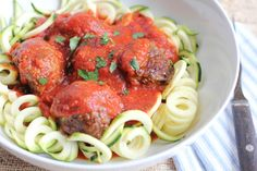 Zucchini Noodles with Meatballs - Hip Foodie Mom