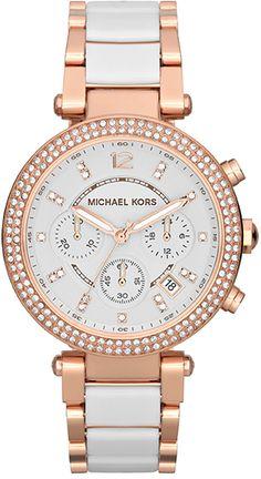 Michael Kors Parker Rosé goud en wit chrono dameshorloge