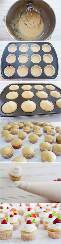 These are Perfect Vanilla Cupcake, taste perfect and look perfect. Even though seems like the ordinary white vanilla cupcakes, these … Cupcake Recipes, Cupcake Cakes, Dessert Recipes, Just Desserts, Delicious Desserts, Yummy Food, Muffins, Cake Pops, Yummy Treats