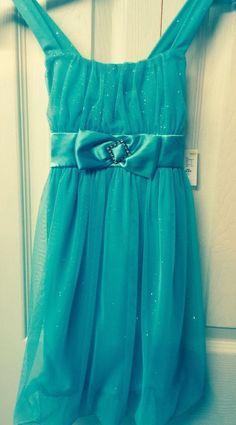Girls Dress 4/5 XS Turquoise Shimmering Chiffon Bubble Hem Holiday Edition Youth #HolidayEdition #HolidayEasterEverydayPageantWedding