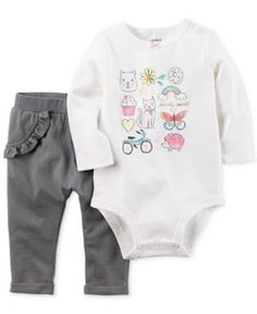 Carter's 2-Pc. Totally Sweet Cotton Bodysuit & Pants Set, Baby Girls (0-24 months) - Ivory/Cream 3 months