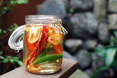 Bacon and Habanero Infused Vodka...I want to make a Bloody Mary out of that!