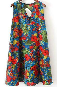 Vestido suelto grafiti sin manga-azul 12.17