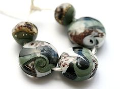 Grey and black Lampwork glass beads set  handmade SRA by MayaHoney