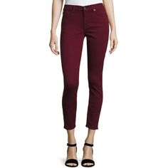 7 For All Mankind The Ankle Skinny Jeans ($101) ❤ liked on Polyvore featuring jeans, medium red, women's apparel jeans, purple skinny jeans, cropped jeans, ankle zipper skinny jeans, red skinny leg jeans and zipper jeans
