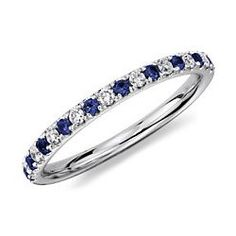 Diamond & Sapphire Wedding Band Ring in Platinum. I like this with a solid diamond engagement ring
