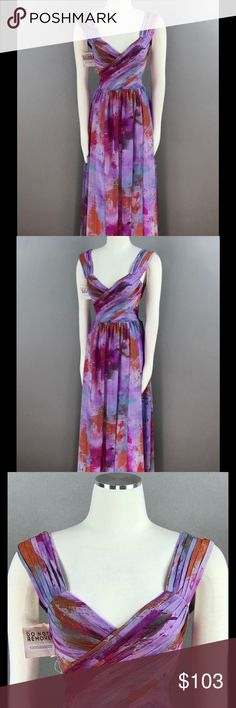 Fame and Partners Vintage Watercolor Dress NEW Fame and Partners Lilac Vintage Watercolor Dress Printed Pleated Chiffon Cut Out Back Ball Gown $279 NEW Fame and partners Dresses Maxi