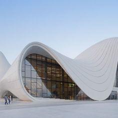 The multi-layered & rhythmic exterior of Heydar Aliyev Center in Baku, Azerbaijan designed by Zaha Hadid.