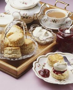tea with strawberry jam and Devonshire clotted cream [oh happy days! Yes, here in the UK we can enjoy this in our tea shops. ;) Mo]
