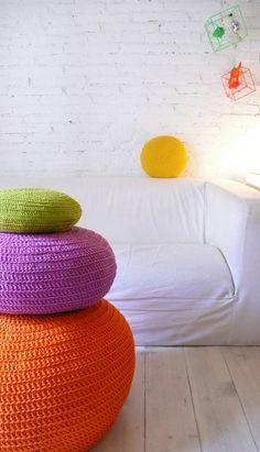 Round Pillow Crochet  yellow por lacasadecoto en Etsy, €21.00