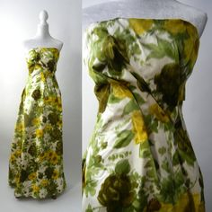 Vintage 60s Dress 1960 Strapless Gown 60s Floral by SLVintage